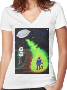 """""""Meanwhile...at the Crossroads"""" Women's Fitted V-Neck T-Shirt"""
