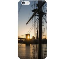 Tall Ship and Brooklyn Bridge - Iconic New York City Sunrise iPhone Case/Skin
