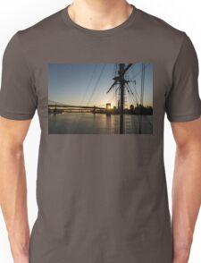Tall Ship and Brooklyn Bridge - Iconic New York City Sunrise Unisex T-Shirt