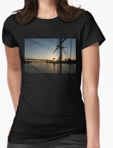 Tall Ship and Brooklyn Bridge - Iconic New York City Sunrise Womens Fitted T-Shirt