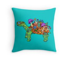 Rainbow Mushroom Tortoise  Throw Pillow