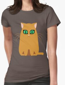 Orange Graphic Kitty Womens Fitted T-Shirt