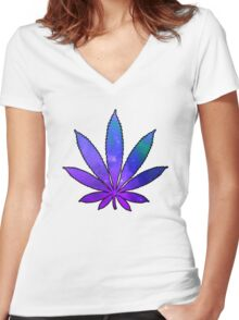 Space Weed Women's Fitted V-Neck T-Shirt