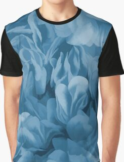 Midnight Blue Petal Ruffle Abstract Graphic T-Shirt