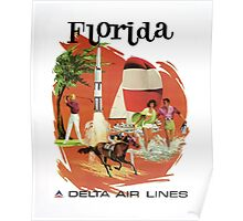 Florida Delta Air Lines Vintage Travel Poster Poster