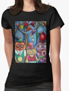 cats wonderland tea party Womens Fitted T-Shirt