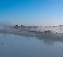 The River Murray in fog, Murray Bridge SA by Mark Richards