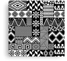Black and white ethnic print Canvas Print