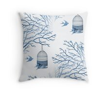 Birdcage and Swallows in Blue Branches Throw Pillow