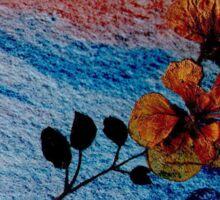 Pressed Flowers on Blue Sticker
