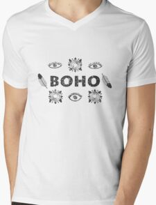 Boho eyes and sun. Tribal print Mens V-Neck T-Shirt