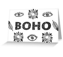 Boho eyes and sun. Tribal print Greeting Card
