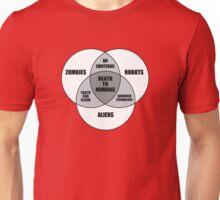 Zombie Alien Robot Venn Diagram Unisex T-Shirt
