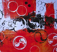 Abstract in Red and Black by Heather Holland  by Heatherian