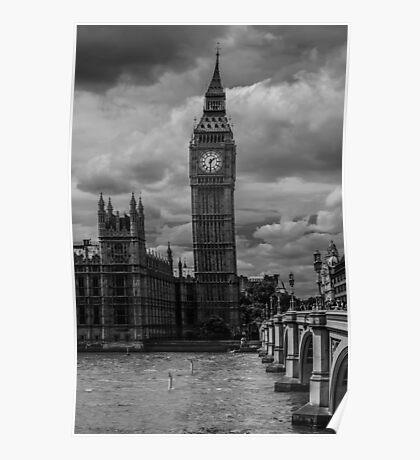 Big Ben - black & white Poster