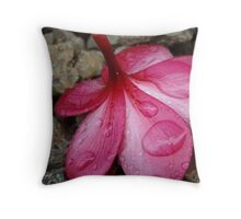 Cool Pink Frangipani Throw Pillow