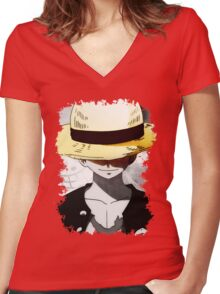 Monkey D. Luffy Women's Fitted V-Neck T-Shirt