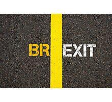 Concept of BREXIT, UK United Kingdom versus EU EUROPEAN UNION separate by line Photographic Print