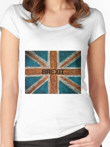 BREXIT concept over British Union Jack flag Women's Fitted Scoop T-Shirt
