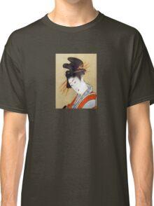 Hokusai Courtesan T-Shirt Print Beautiful Pillow Japanese Woman Dress Classic T-Shirt