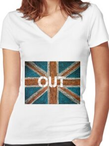 BREXIT concept over British Union Jack flag, OUT message Women's Fitted V-Neck T-Shirt
