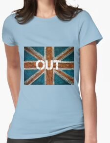 BREXIT concept over British Union Jack flag, OUT message Womens Fitted T-Shirt