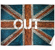 BREXIT concept over British Union Jack flag, OUT message Poster