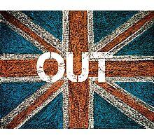 BREXIT concept over British Union Jack flag, OUT message Photographic Print
