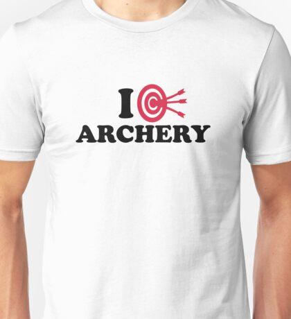 I love Archery bow arrow Unisex T-Shirt