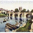 A digital painting of Cathedral and Wye bridge, Hereford, England. by Dennis Melling
