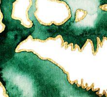 T-Rex Dinosaur Skull: Green Watercolor and Gold  Sticker