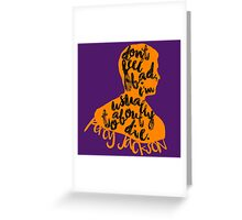 "Percy Jackson Quote ""Don't Feel Bad I'm usually About To Die"" Greeting Card"