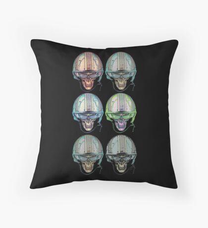 Undead Biker helmet Skull Zombies multi Throw Pillow