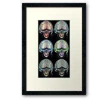 Undead Biker helmet Skull Zombies multi Framed Print