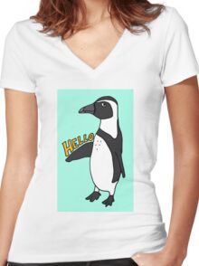 Hello African Penguin Women's Fitted V-Neck T-Shirt