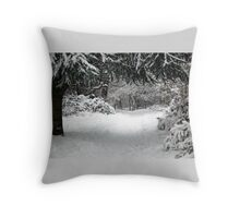 Approaching  Summerhouse Hill Wood Throw Pillow