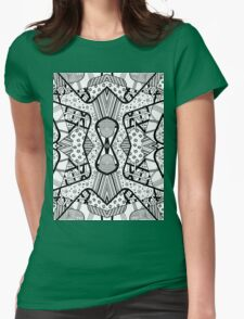 Miniature Aussie Tangle 12 Pattern in Black Womens Fitted T-Shirt