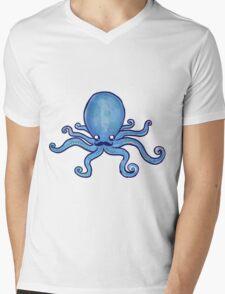 Blush Mustache Octopus Mens V-Neck T-Shirt