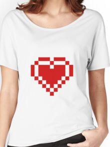 Red Pixel Heart Women's Relaxed Fit T-Shirt