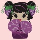 Purple Grapes Kokeshi Doll by SaradaBoru