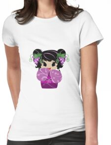 Purple Grapes Kokeshi Doll Womens Fitted T-Shirt