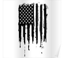 Dripping American Flag Black Poster