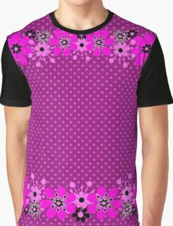 Seamless floral pattern with flowers on polka dot print background Graphic T-Shirt