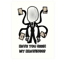 Chibi Black Slenderman Art Print