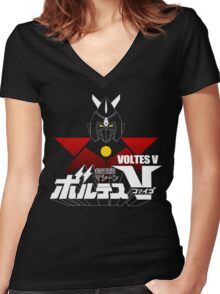 JAPAN CLASSIC RETRO ANIME ROBOT VOLTES V FIVE  Women's Fitted V-Neck T-Shirt