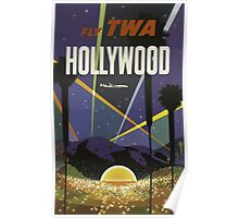 Fly TWA Hollywood California Vintage Travel Poster Poster