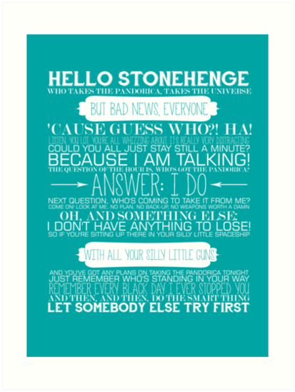Doctor Who - The Pandorica Opens Typography Print by graceonastring