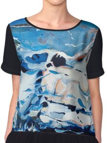 'The Whales'.........Acrylic Abstract  Chiffon Top