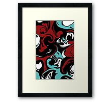 Marbled: Red and Blue Framed Print