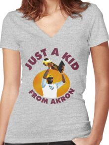 Just A Kid From Akron Women's Fitted V-Neck T-Shirt
